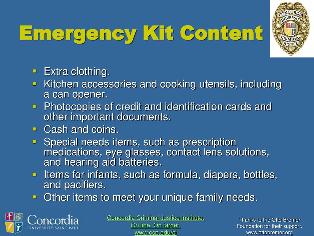 Emergency Kit Content