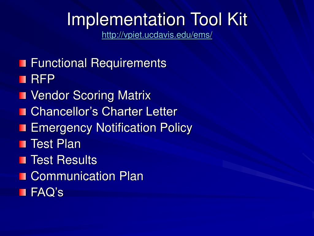 Implementation Tool Kit
