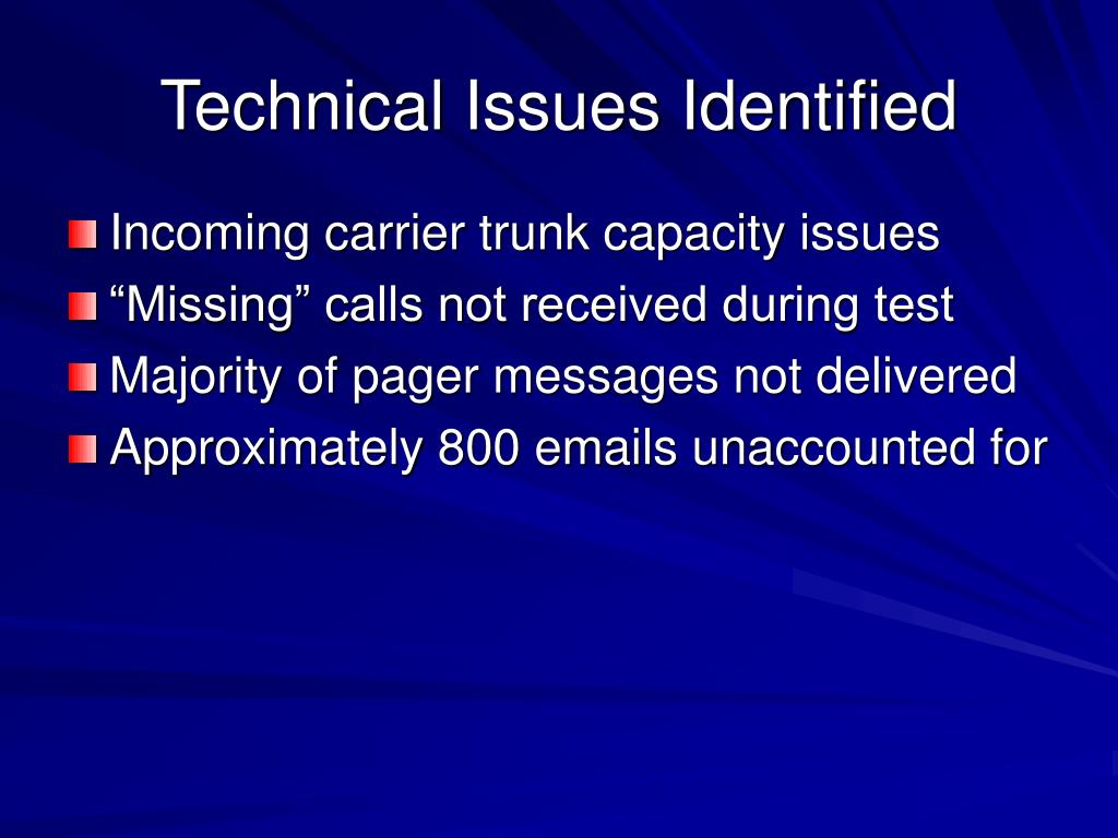 Technical Issues Identified