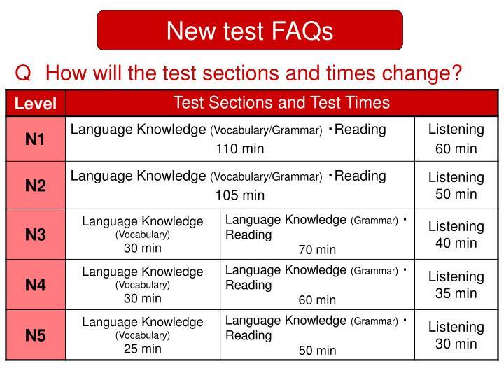 New test FAQs