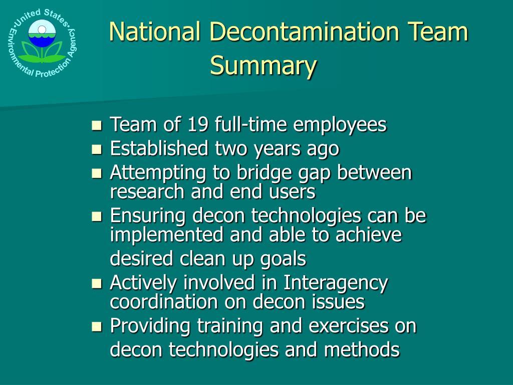 National Decontamination Team