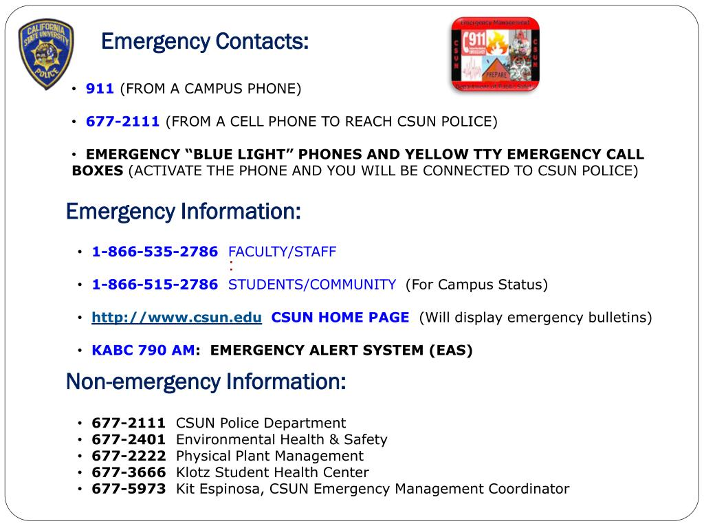 Emergency Contacts: