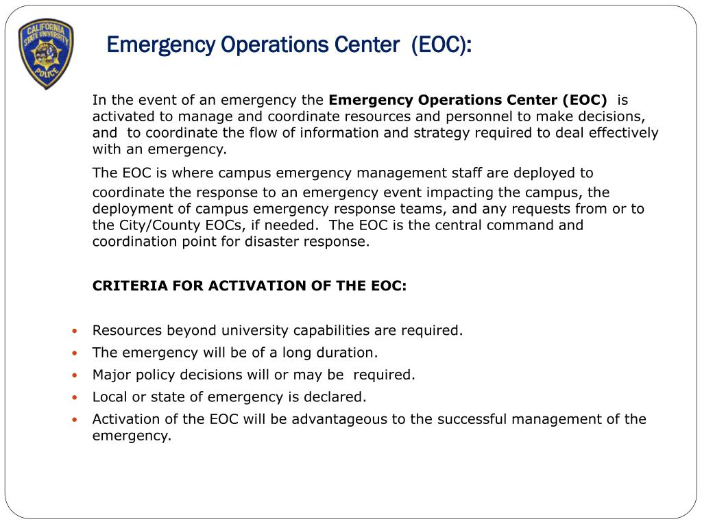 Emergency Operations Center  (EOC):