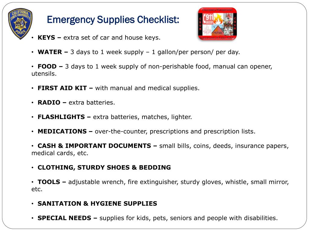 Emergency Supplies Checklist: