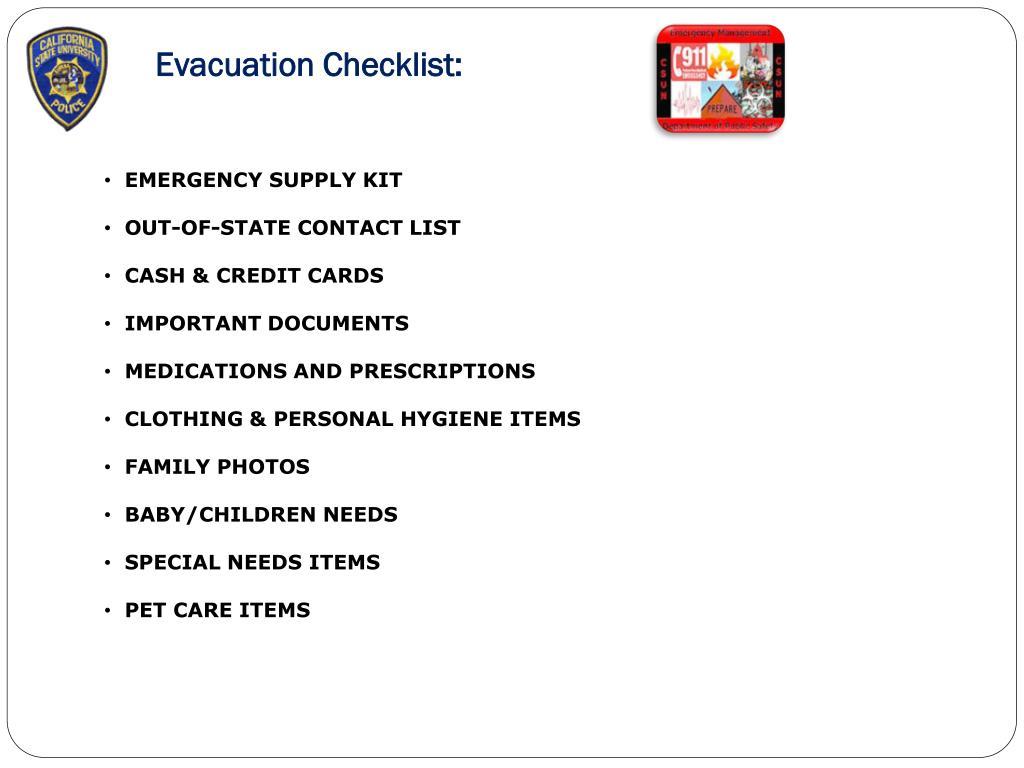 Evacuation Checklist: