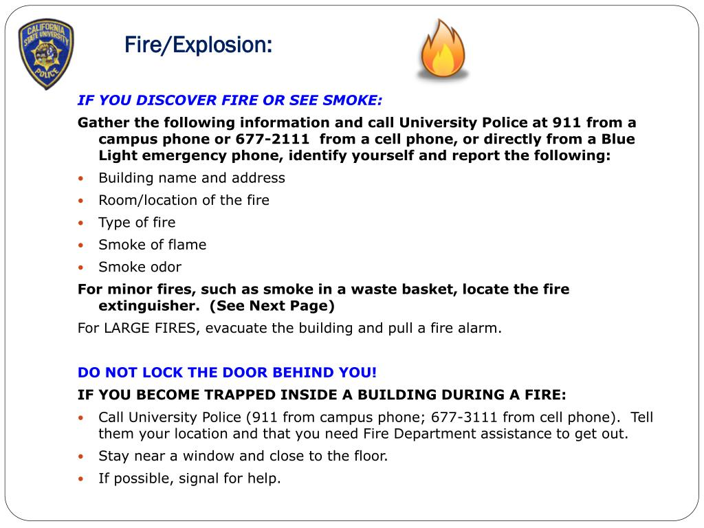 Fire/Explosion: