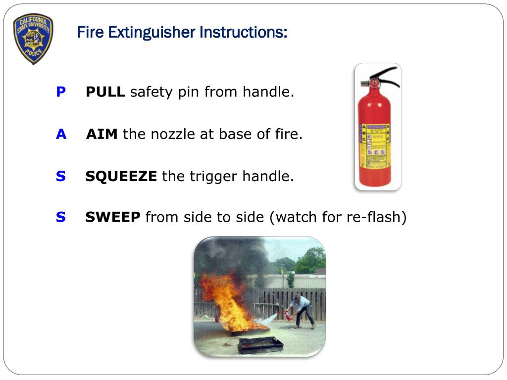 Fire Extinguisher Instructions: