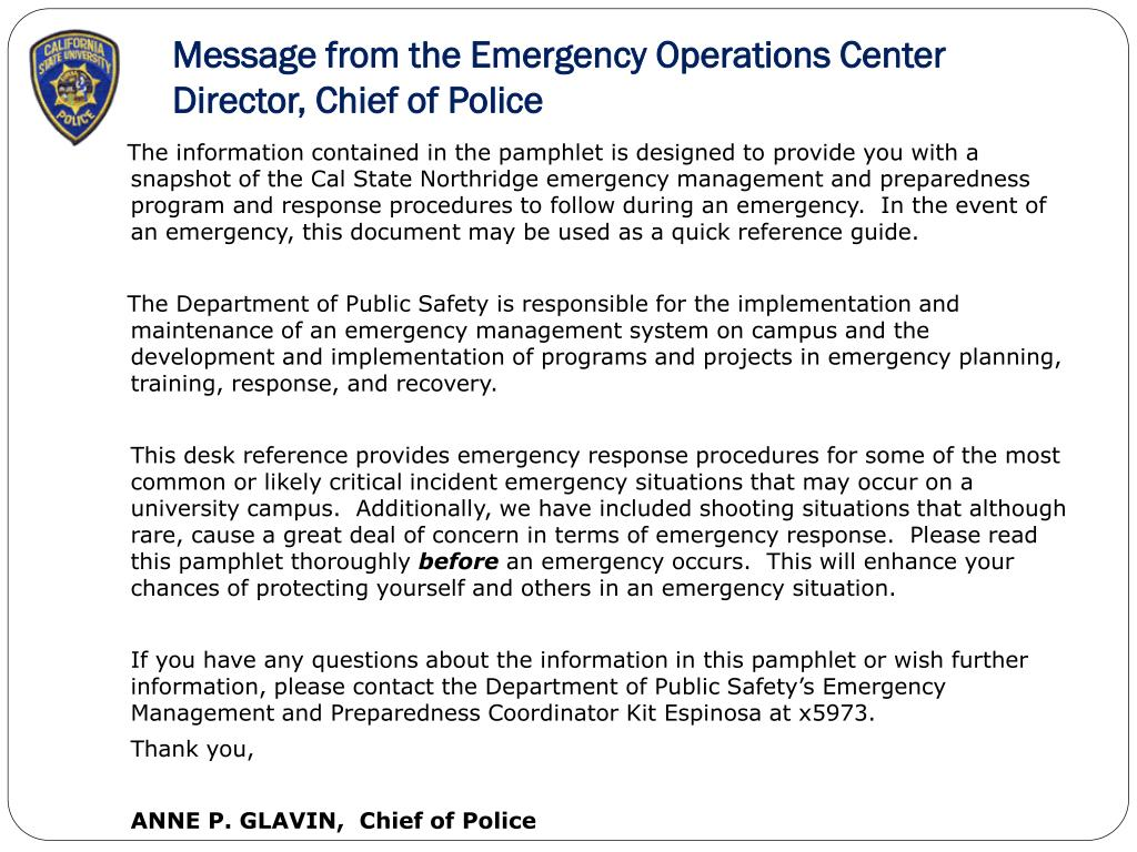 Message from the Emergency Operations Center Director, Chief of Police