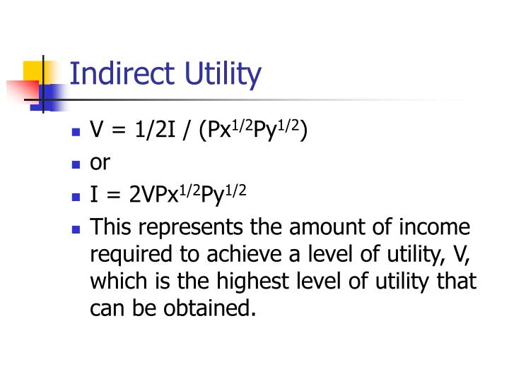 Indirect Utility