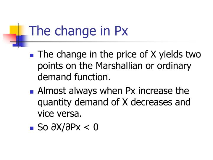 The change in Px