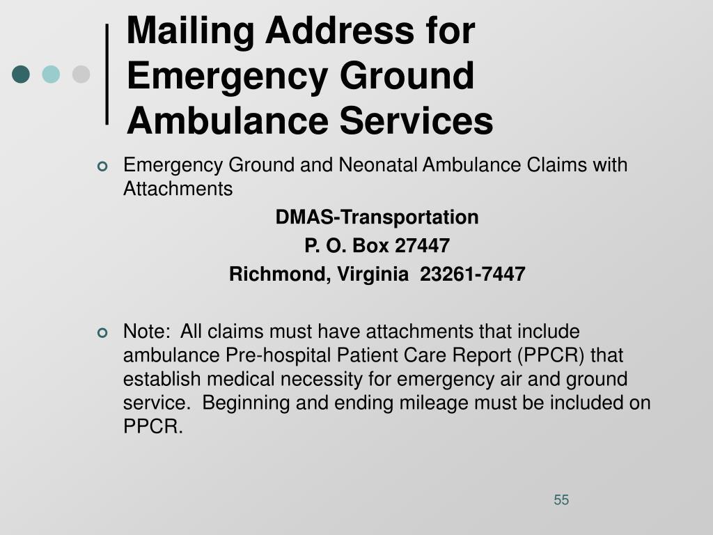 Mailing Address for Emergency Ground Ambulance Services