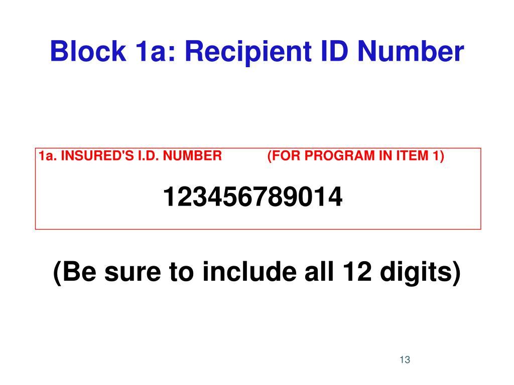 Block 1a: Recipient ID Number