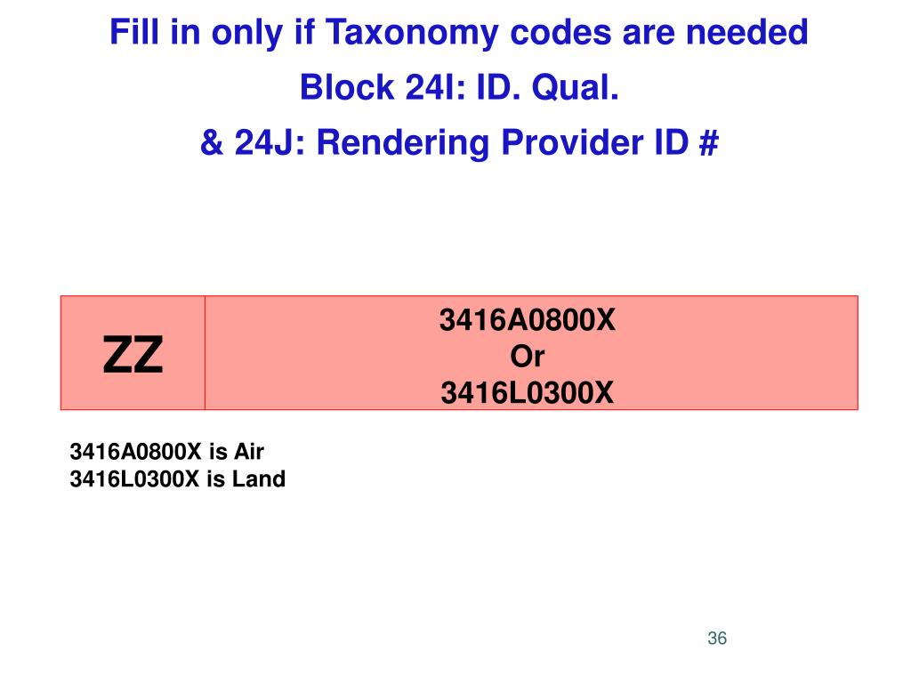 Fill in only if Taxonomy codes are needed