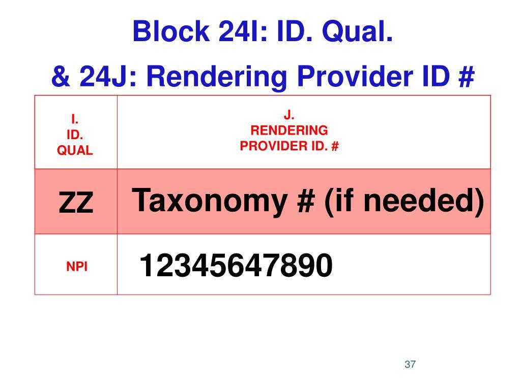 Block 24I: ID. Qual.