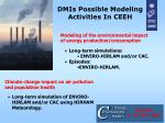 dmis possible modeling activities in ceeh