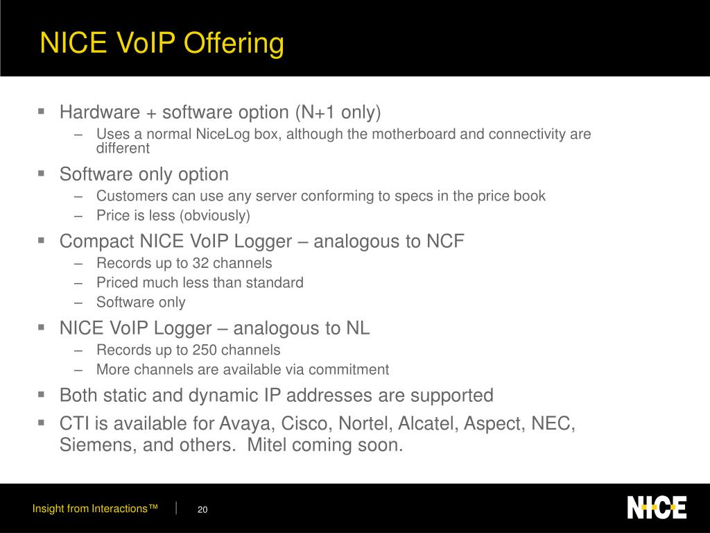 NICE VoIP Offering