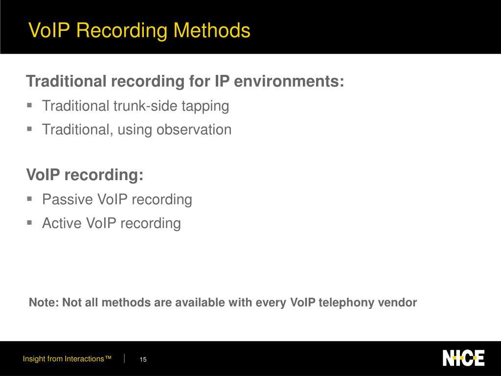 VoIP Recording Methods