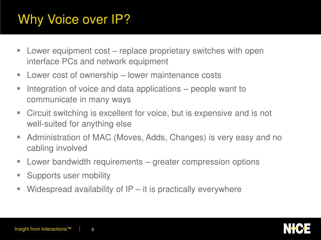 Why Voice over IP?
