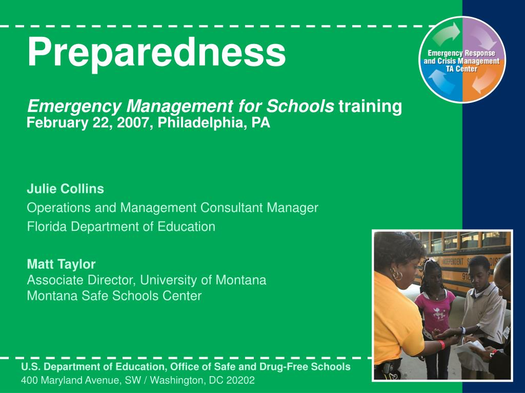 preparedness emergency management for schools training february 22 2007 philadelphia pa