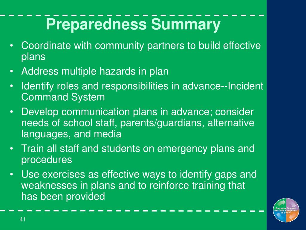 Preparedness Summary