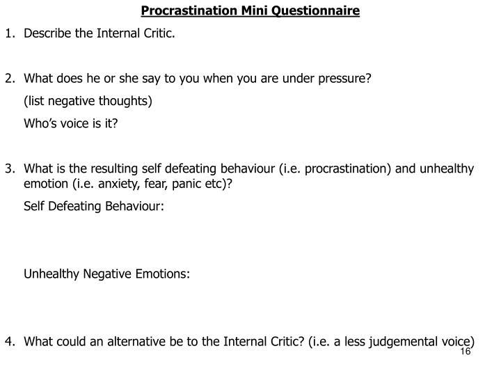 Procrastination Mini Questionnaire