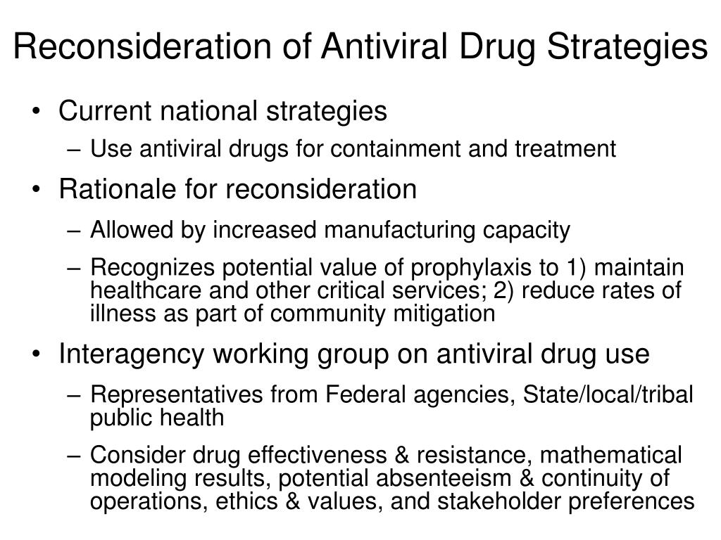 Reconsideration of Antiviral Drug Strategies