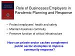 role of businesses employers in pandemic planning and response