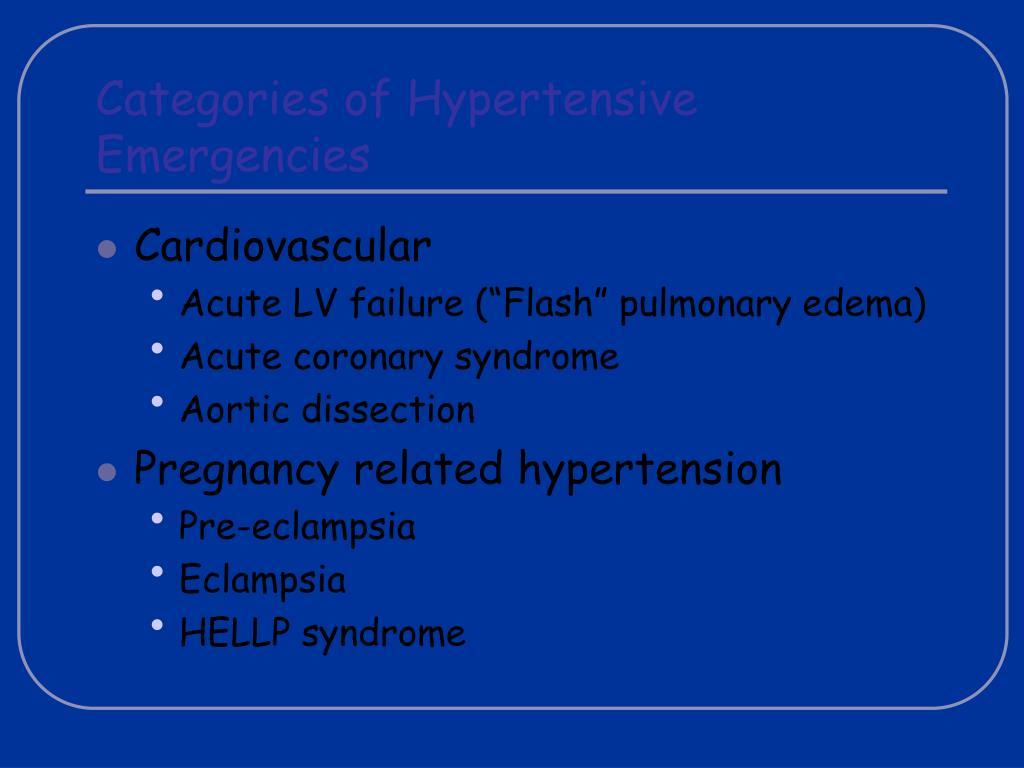 Categories of Hypertensive Emergencies