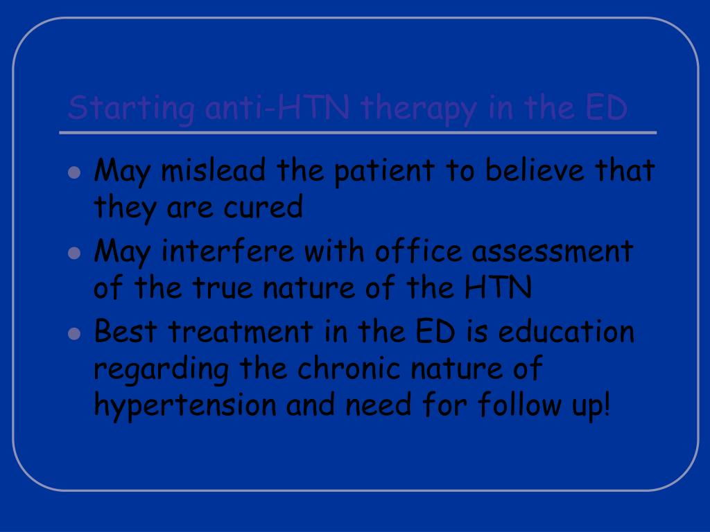 Starting anti-HTN therapy in the ED
