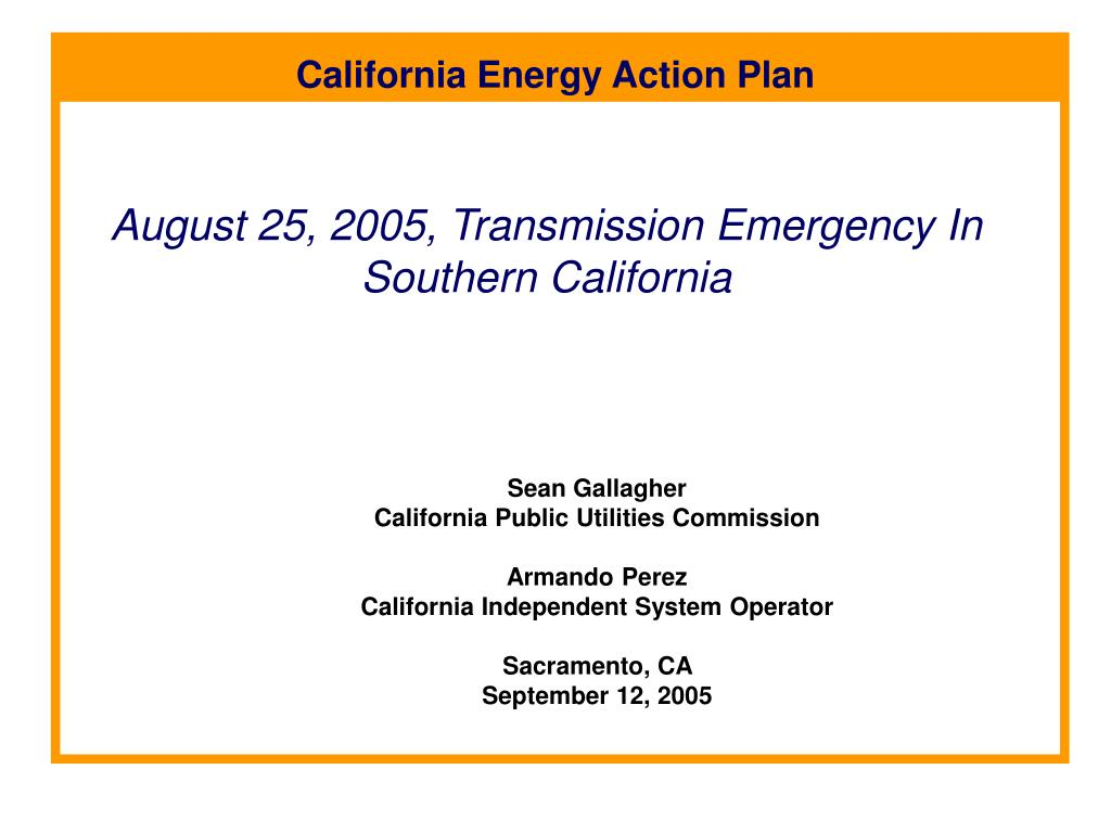 august 25 2005 transmission emergency in southern california