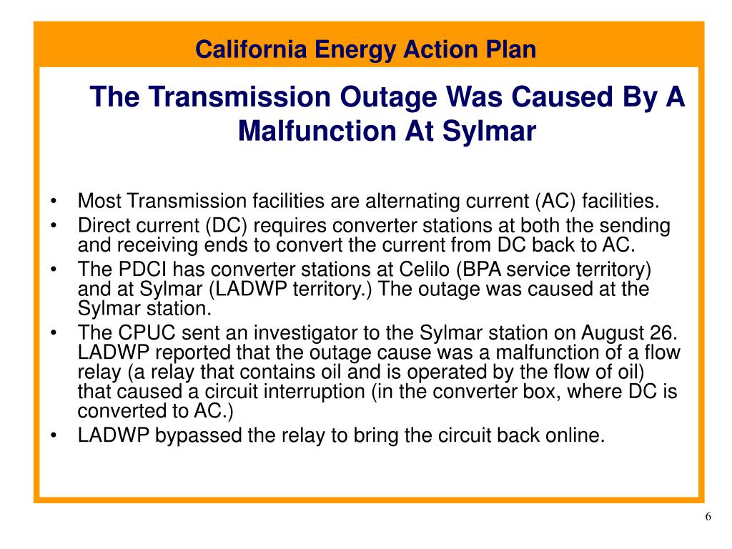 The Transmission Outage Was Caused By A Malfunction At Sylmar