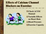 effects of calcium channel blockers on exercise