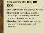 measurements hr bp ecg