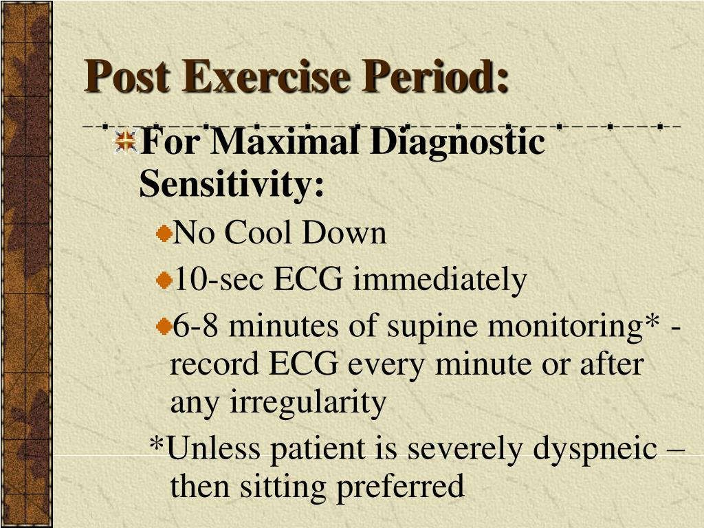Post Exercise Period: