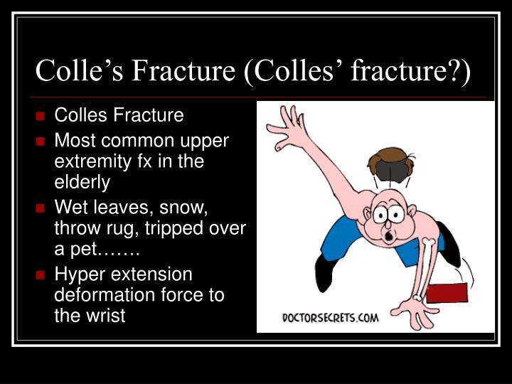Colle's Fracture (Colles' fracture?)