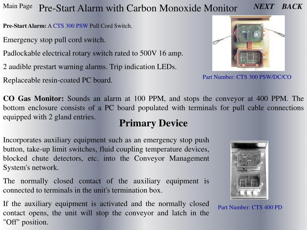 Pre-Start Alarm with Carbon Monoxide Monitor