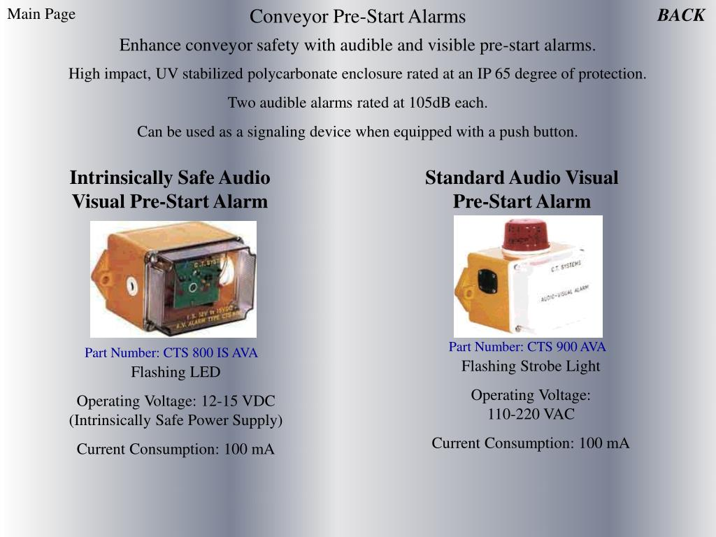 Conveyor Pre-Start Alarms