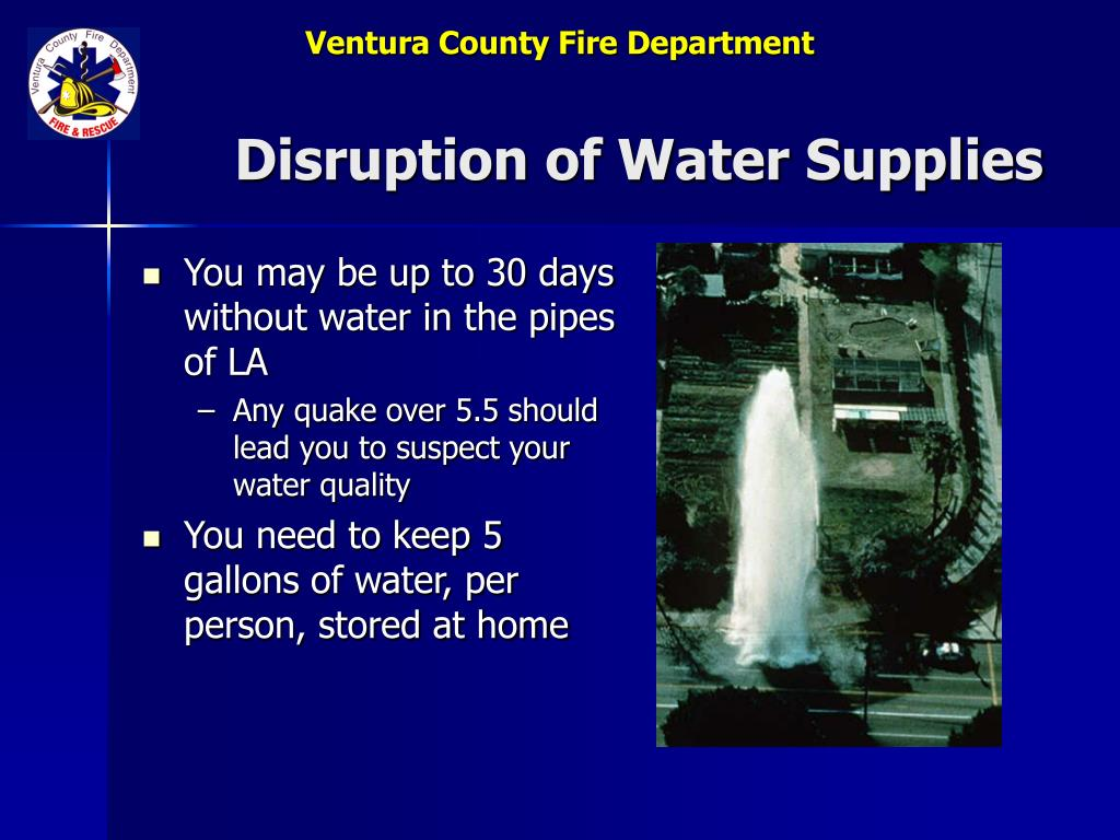 Disruption of Water Supplies