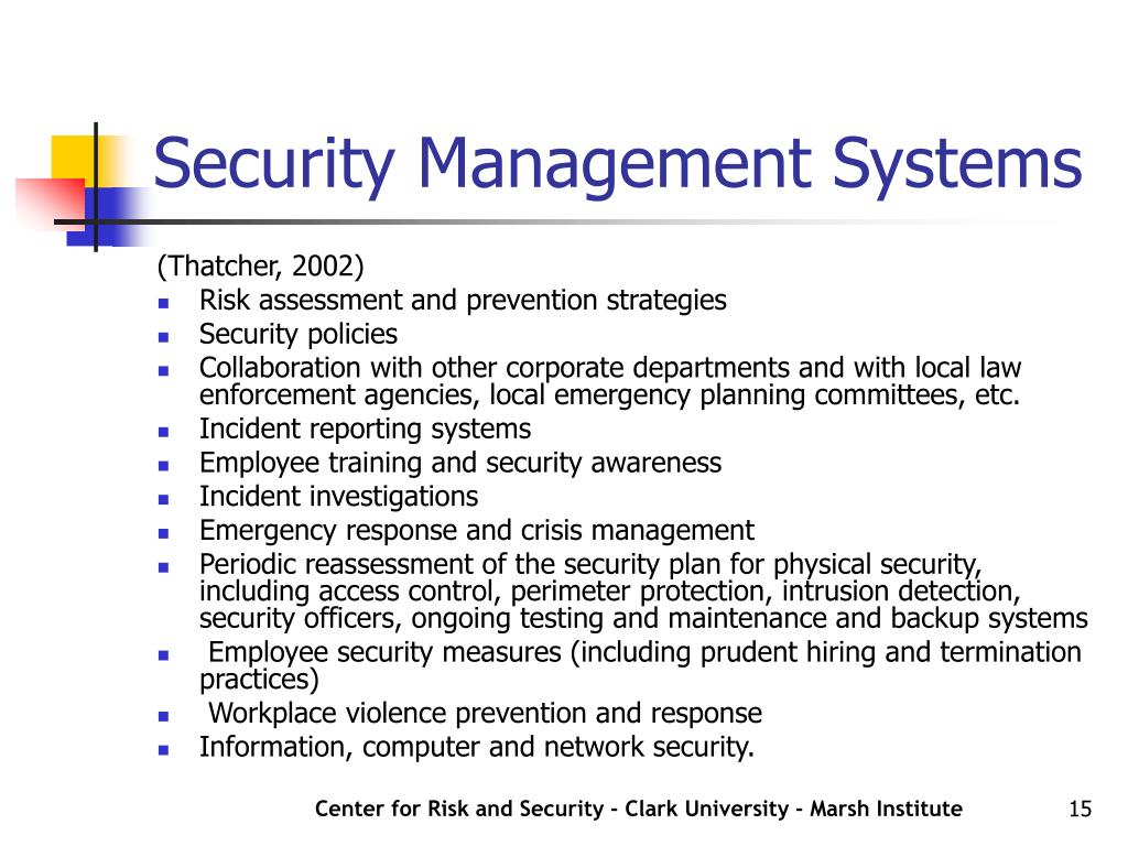 Security Management Systems