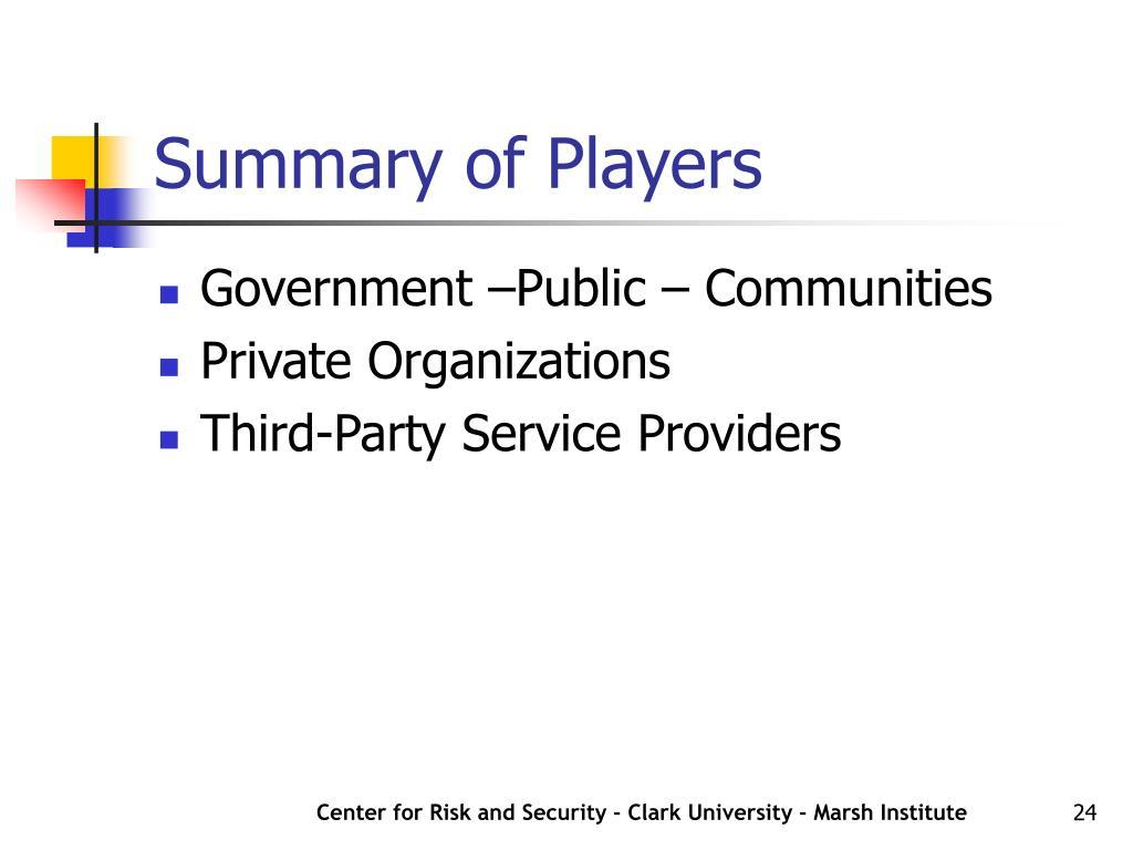 Summary of Players