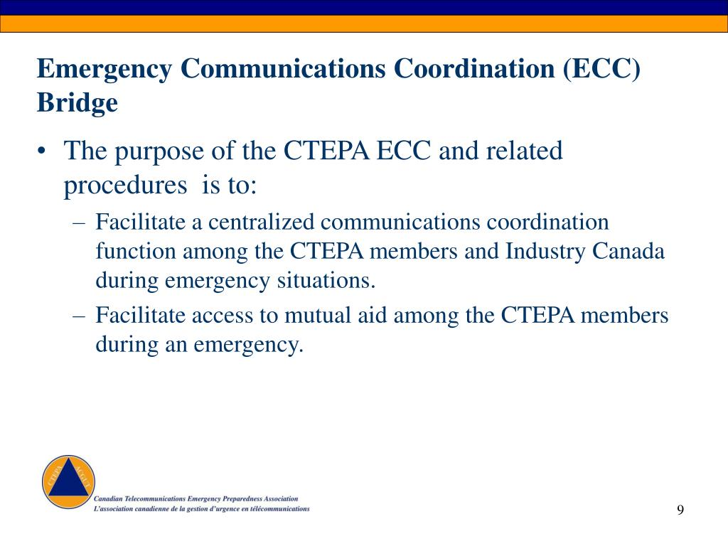 Emergency Communications Coordination (ECC) Bridge