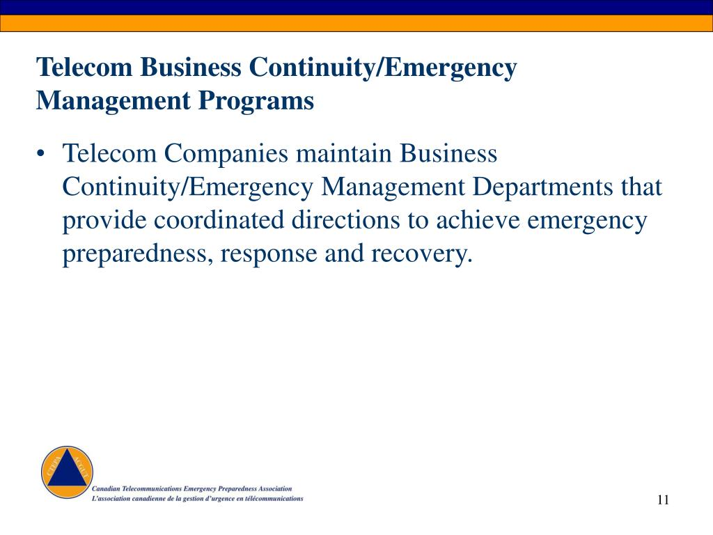 Telecom Business Continuity/Emergency Management Programs