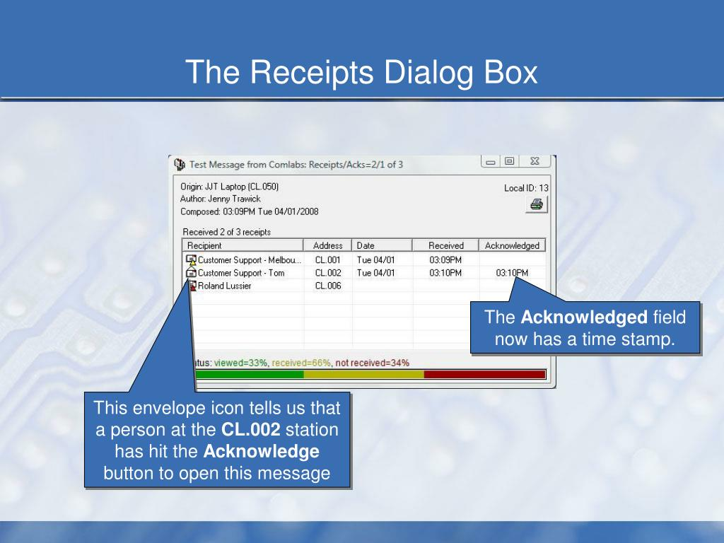 The Receipts Dialog Box