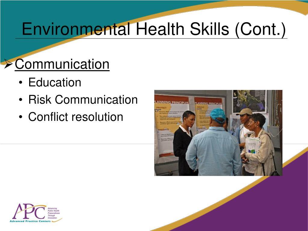 Environmental Health Skills (Cont.)