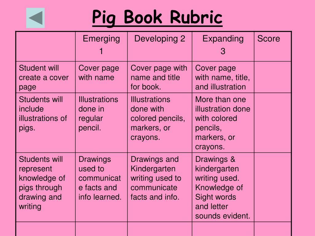 Pig Book Rubric