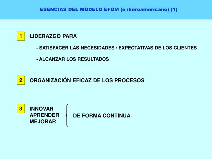 ESENCIAS DEL MODELO EFQM (e iberoamericano) (1)