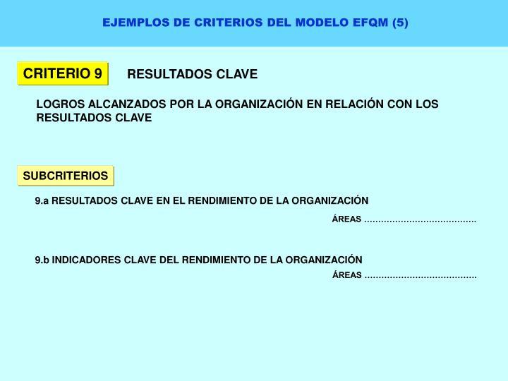 EJEMPLOS DE CRITERIOS DEL MODELO EFQM (5)