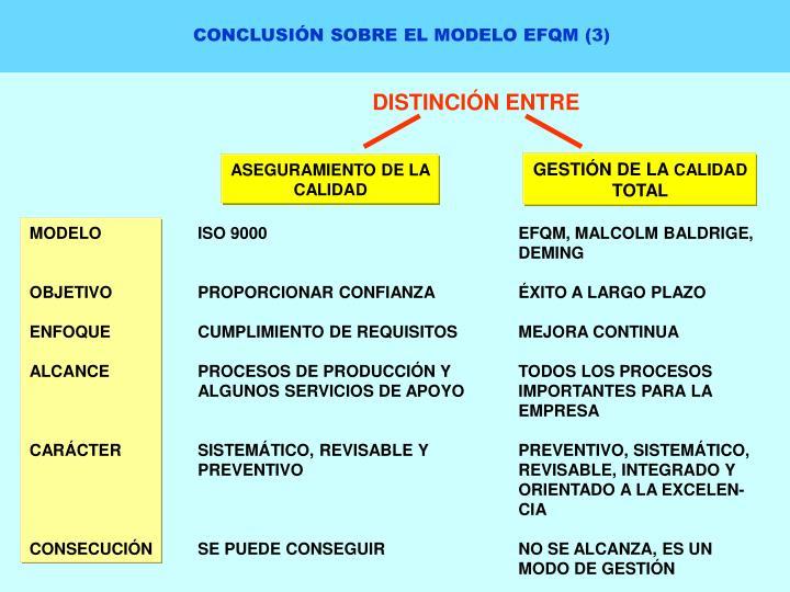 CONCLUSIÓN SOBRE EL MODELO EFQM (3)