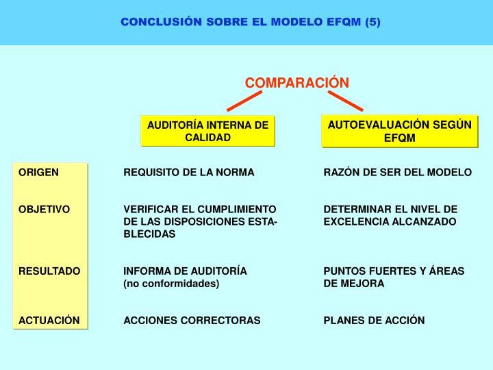 CONCLUSIÓN SOBRE EL MODELO EFQM (5)