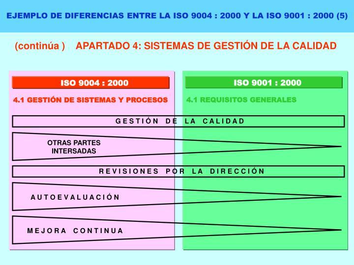 EJEMPLO DE DIFERENCIAS ENTRE LA ISO 9004 : 2000 Y LA ISO 9001 : 2000 (5)